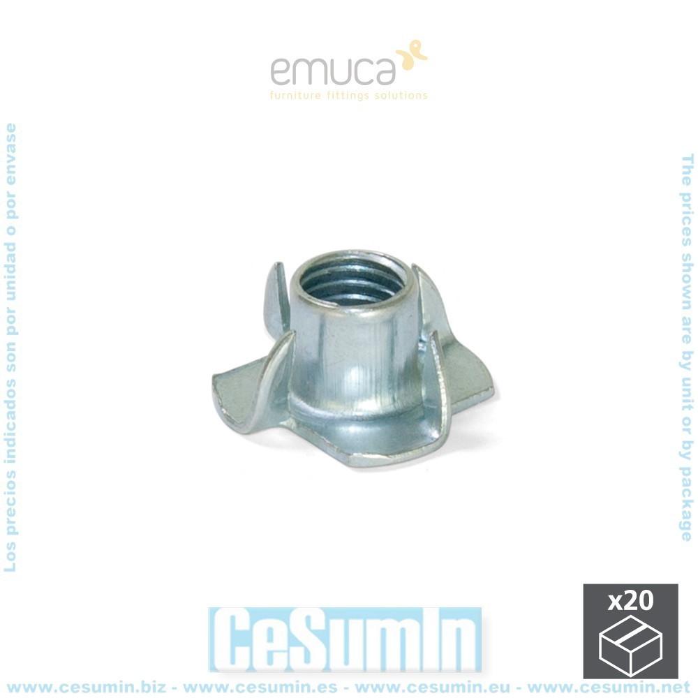 EMUCA 4025405 - Lote de 20 tuercas de púas M6 en acero cincado