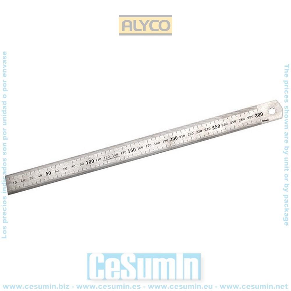 ALYCO 197281 - Regla acero acero inoxidable 300x25x1 mm