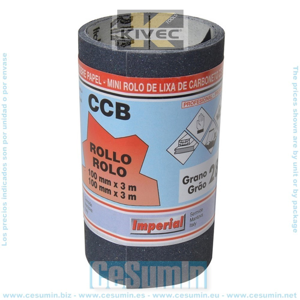 KIVEC IM-12449675 - Blíster con rollo lija barniz de 3 m 100 mm grano 240