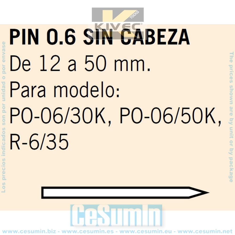 KIVEC MCPIN0.6-40C - PIN 0.6 sin cabeza Largo 40 mm. Env. de 10000 Uds.
