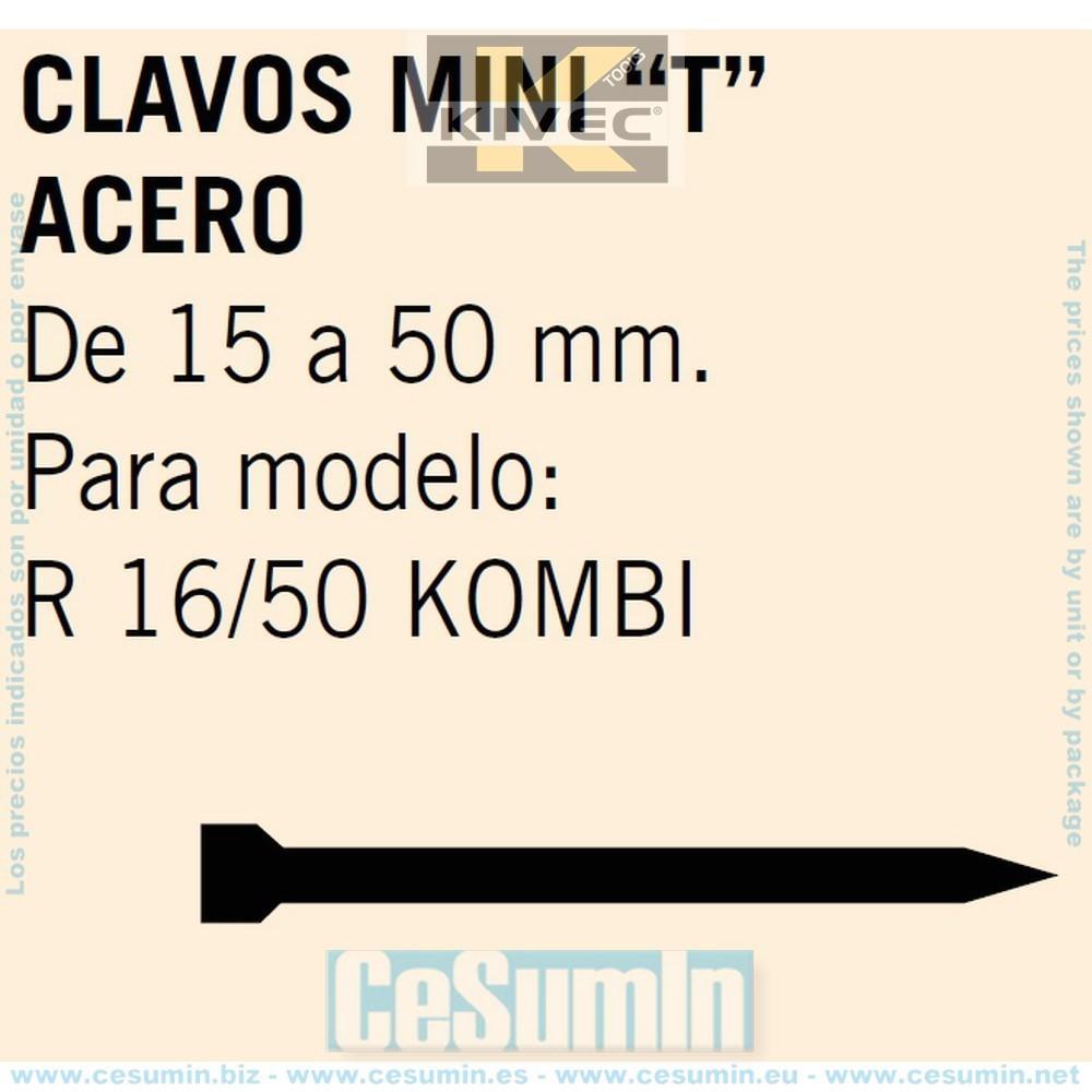 KIVEC MCMINIT-40C - Clavos MINI T acero Largo 40 mm. Env. de 1500 Uds.