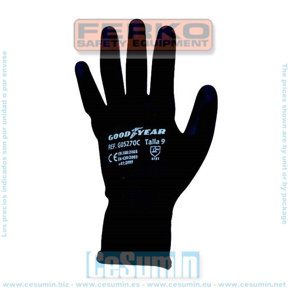FERKO G05270C-9 - Guante hilo continuo elástico recubierta la palma en poliuretano negro. Talla 9