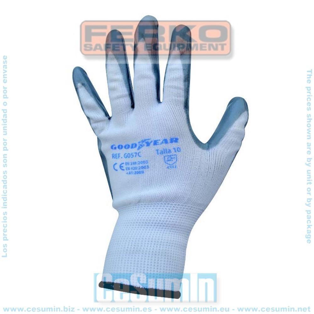 FERKO G057C-8 - Guante hilo continuo elástico recubierta la palma en nitrilo gris. Talla 8