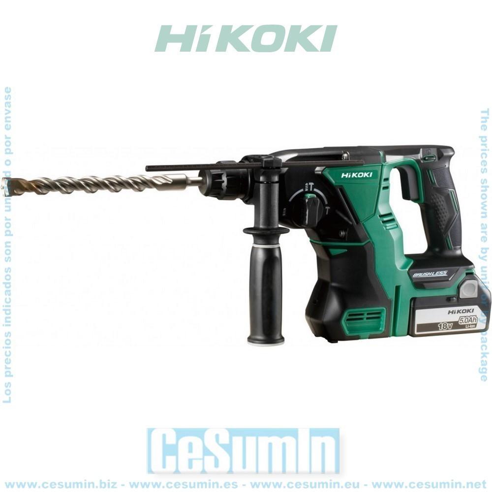 HIKOKI 51201216A - Martillo demoledor sin escobillas 18V Ion-Li 2.2J 2 baterias 1 cargador 1050 rpm 3950 ipm