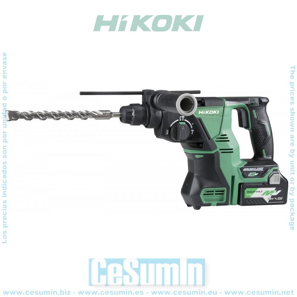 HIKOKI 51201626 - Martillo SDS Plus 4300ipm 3.3J 36V con 2 baterías y un cargador