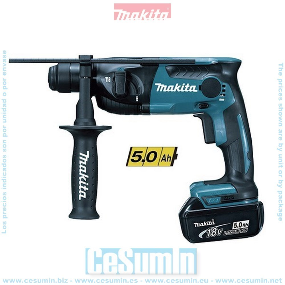 MAKITA DHR165RTJ - Martillo ligero 16mm 18v litio 5.0ah makpac