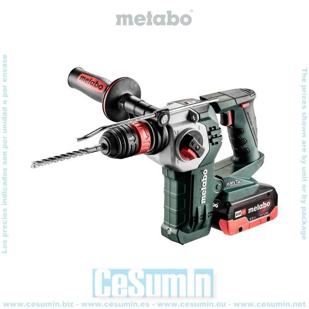 Metabo 600211540 Martillo ligero SDS Plus sin escob a bateria 18V LiHD 4Ah + LiHD 5,5Ah Li-Ion KHA18LTX BL 24 Q Maletín MetaLoc