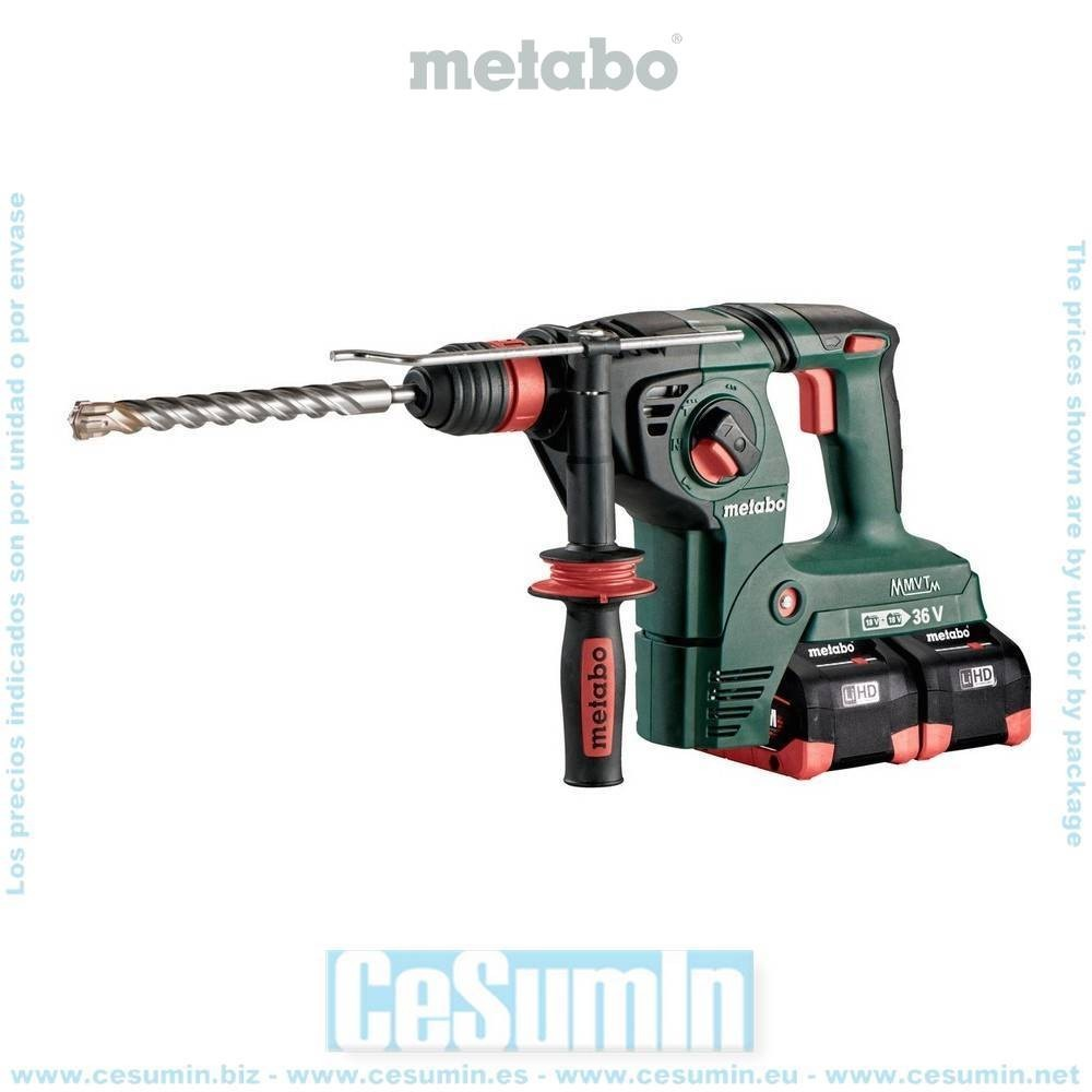 Metabo 600796810 Martillo combinado SDS Plus a bateria 18V 4x LiHD 8Ah + 2 carg ASC Ultra KHA 36-18 LTX 32 Maletín MetaLoc