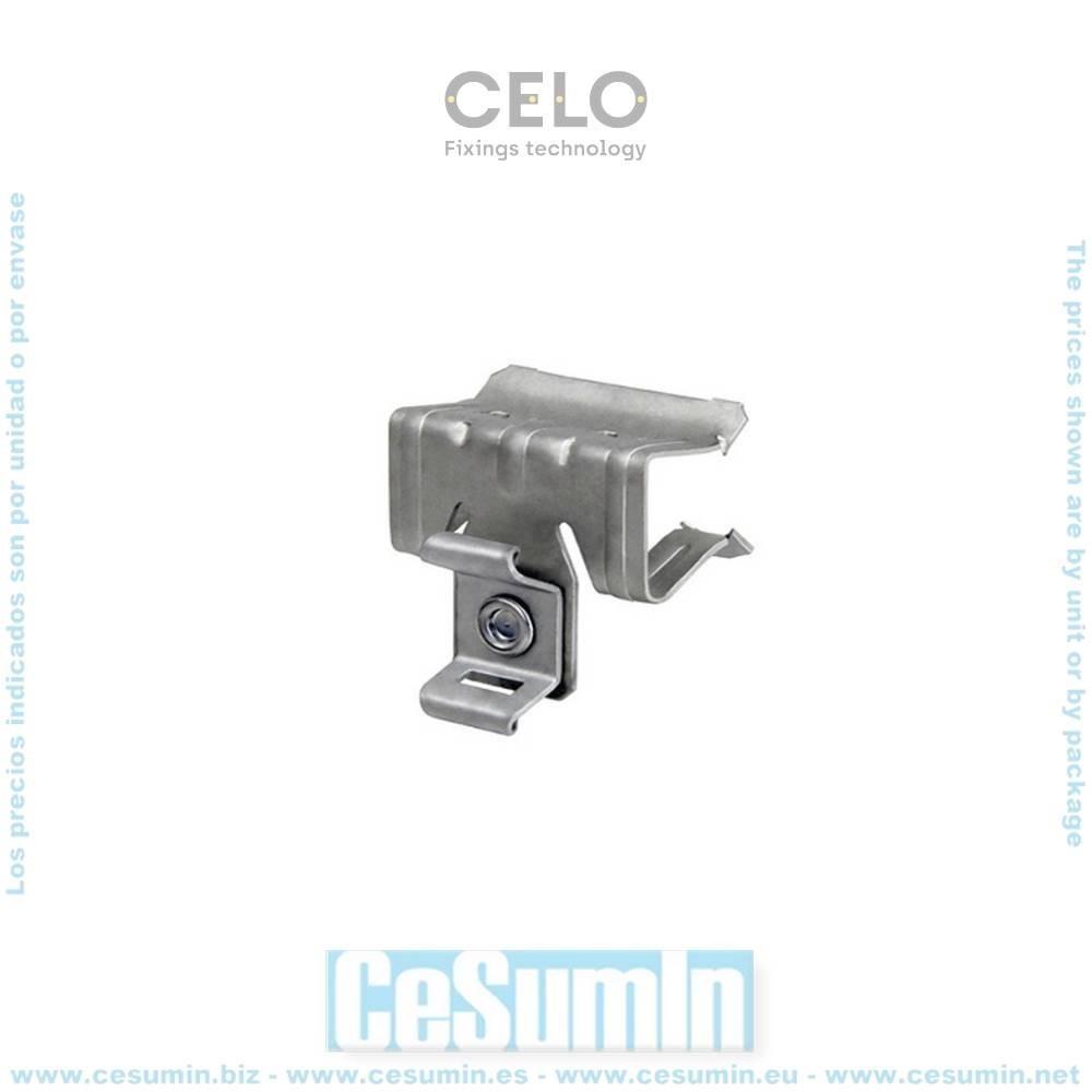 CELO 91520CBR Clip viga para brida CBR 15-20 con orificio 9x3 recubrimiento láminas de zinc aluminio gris (Envase 100 ud)