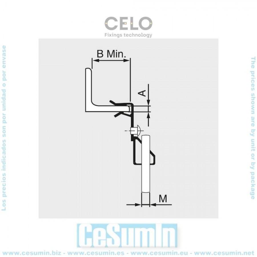 Index SUVA0804 Clip horizontal varilla roscada M8 para vigas de espesor 4-10 mm