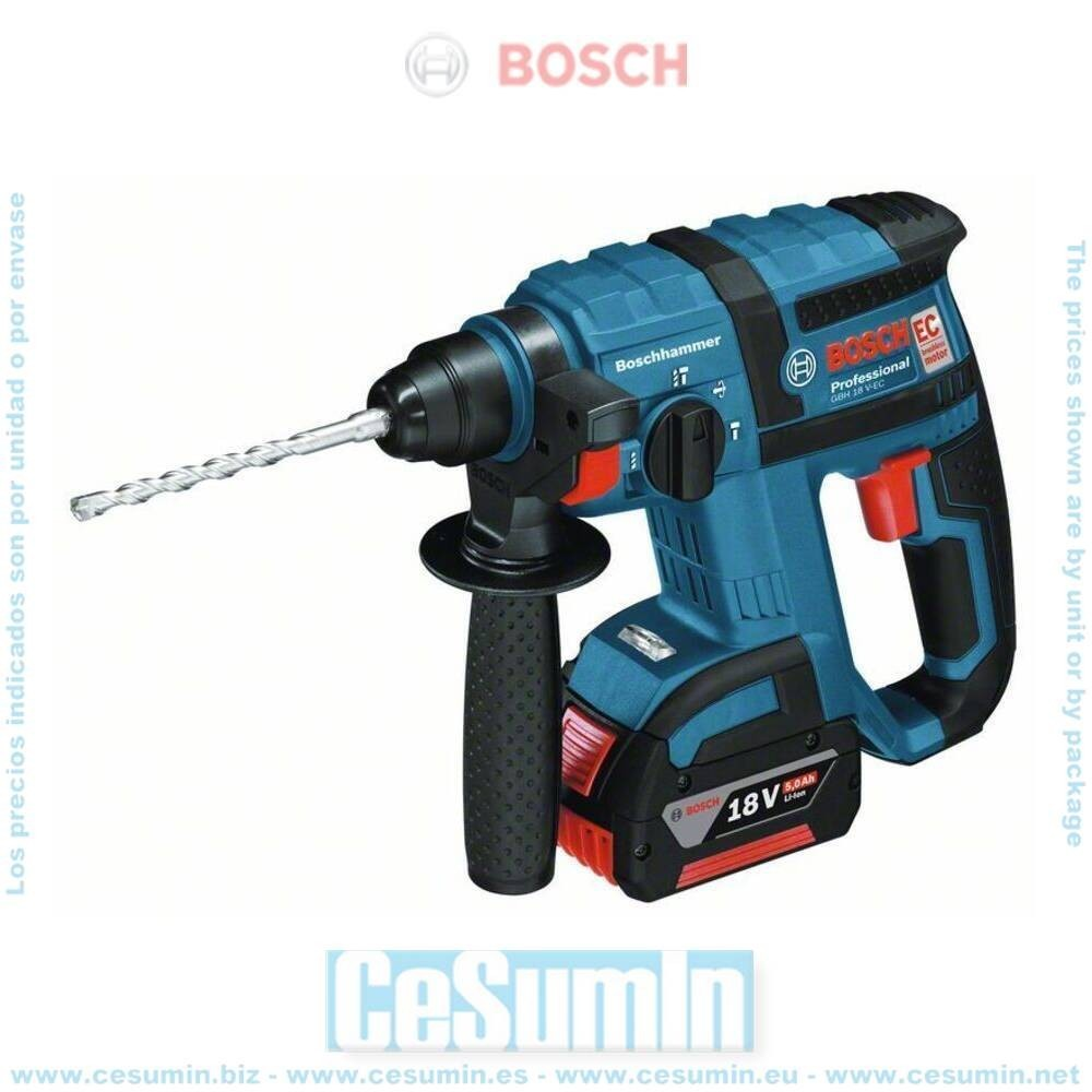 Bosch 0611904004 Martillo perforador a batería GBH 18V-EC SDS Plus + 2 baterías 4,0Ah + cargador + L-Boxx