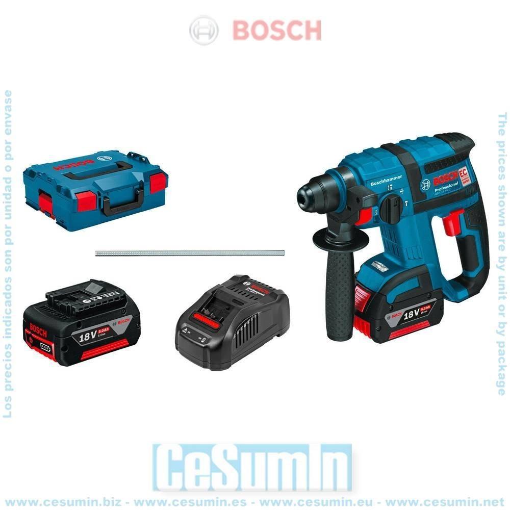 Bosch 061190400F Martillo perforador a batería GBH 18V-EC SDS Plus + 2 baterías 5,0Ah + cargador GAL 1880 CV + L-Boxx 136