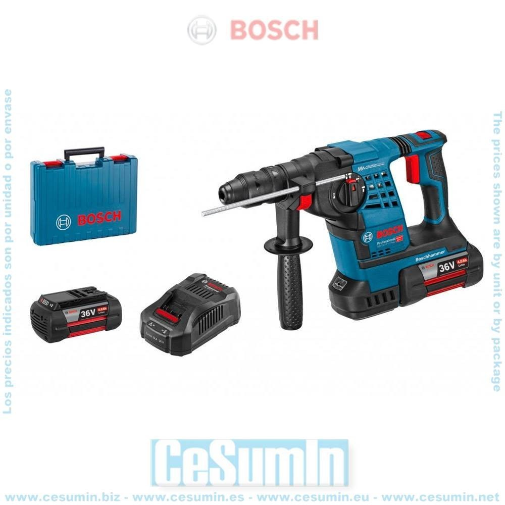 Bosch 061190600A Martillo perforador a batería GBH 36V-LI Plus SDS Plus EPC ERC + 2 baterías 6,0Ah + cargador + maletín
