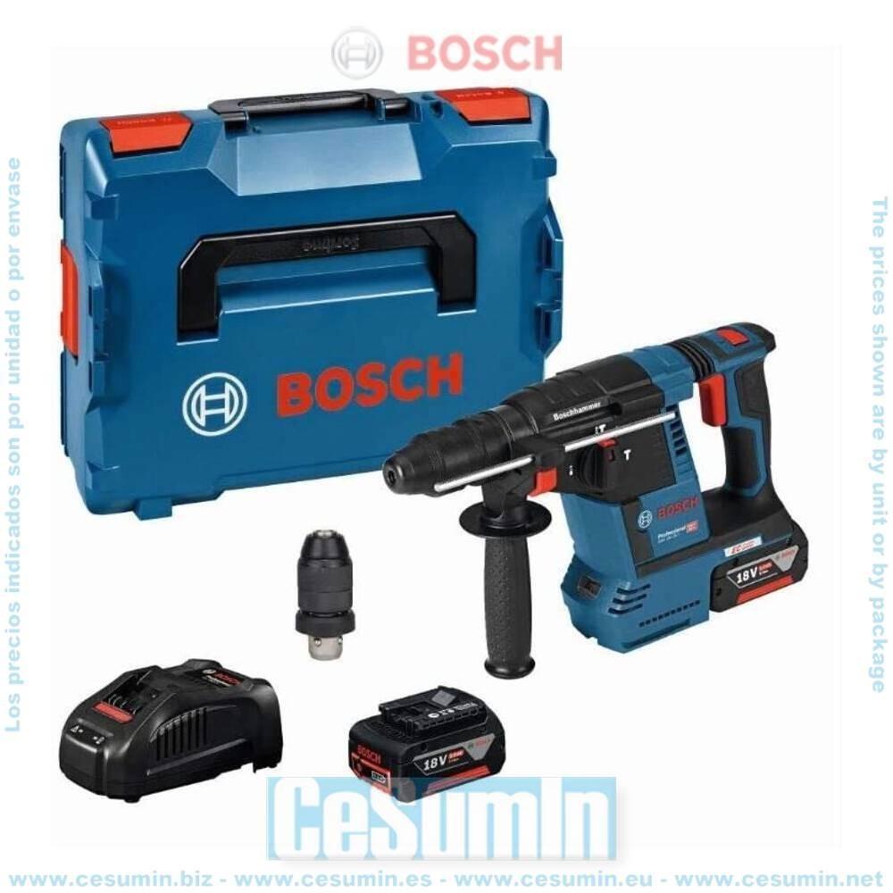 Bosch 0611910007 Martillo perforador a batería GBH 18V-26 F SDS Plus KickBack + 2 baterías 5,0Ah + cargador + L-Boxx