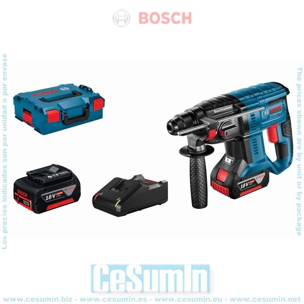 Bosch 0611911007 Martillo perforador a batería GBH 18V-20 SDS Plus 1,7J + 2 baterías 4,0Ah + cargador GAL 18V-40 + L-Boxx