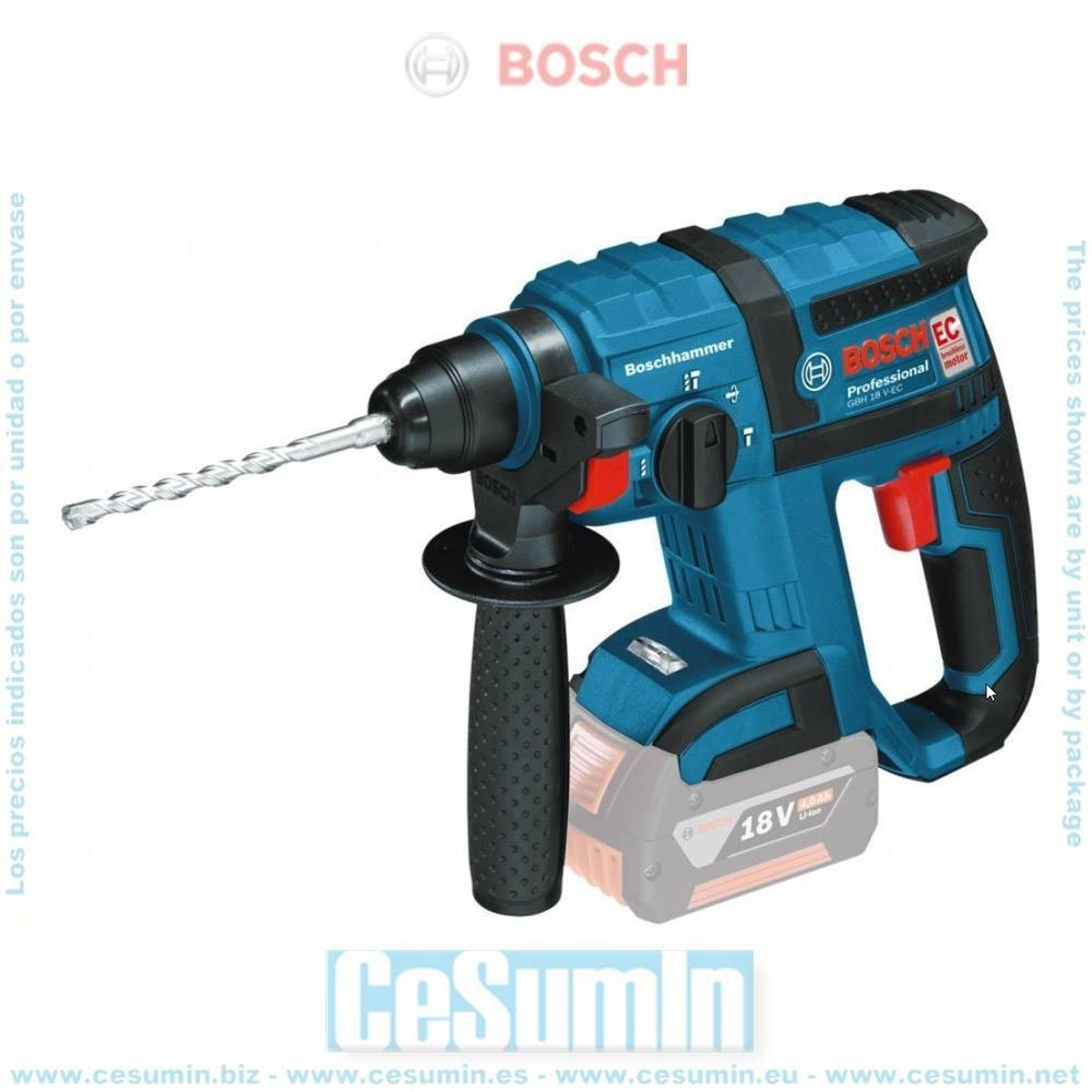 Bosch 0611904000 Martillo perforador a batería GBH 18V-EC SDS Plus MOTOR EC + caja cartón sin batería ni cargador