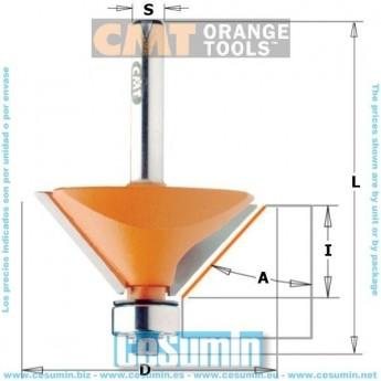 CMT Orange Tools 705.240.11 Fresa para biselar 45 grados hm s 6 d 27x9
